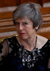 Britain's Prime Minister Theresa May looks on during the annual Lord Mayor's Banquet at Guildhall in London, Britain