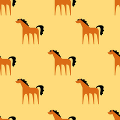 Seamless pattern with cartoon funny horse. Vector illustration.