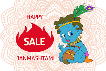 Indian holiday decorate poster with baby Krishna. Vector illustration.