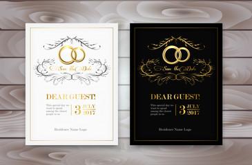 Wedding invitation design with golden rings. Vector illustration.
