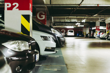 Underground parking in the shopping center of the city