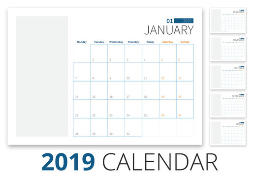 2019 Calendar Layout with Blue Accents