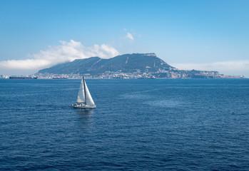 Rock of Gibraltar and Sailboat near Algeciras