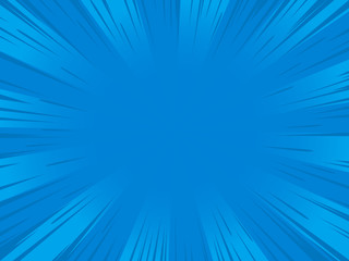 Radial blue speed lines for comic books. Explosion background