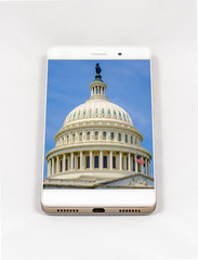 Smartphone displaying picture of US Capitol building, Washington DC, USA