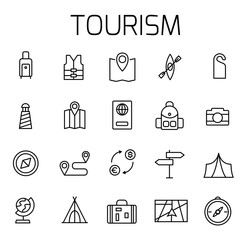 Tourism related vector icon set