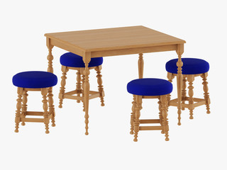 Table and four chairs brown wood 3d rendering