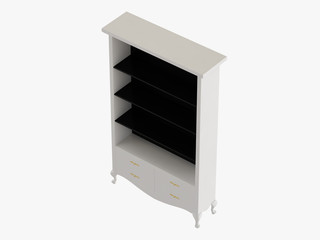 White closet with black shelves 3d rendering