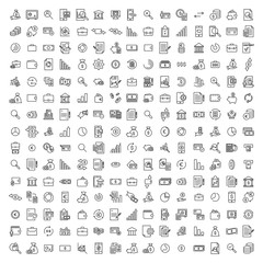 Set of premium banking icons in line style.