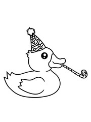 feiern geburtstag party jahre alt hut quietscheente gummiente badeente ente gans vogel baby kind klein süß niedlich comic cartoon clipart design
