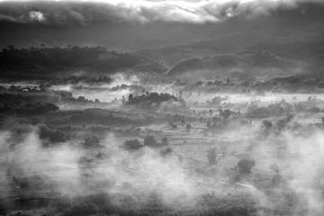 B&W Morning mist in Phu Lanka