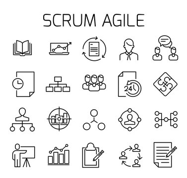 Scrum agile related vector icon set.