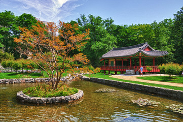 Korean Pagoda with small lake in the Park