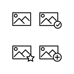 picture, star, plus, check sign icons. Element of outline button icons. Thin line icon for website design and development, app development