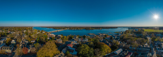 Aerial panorama view of historic colonial chestertown near annapolis situated on the chesapeake bay during an early november afternoon Wall mural