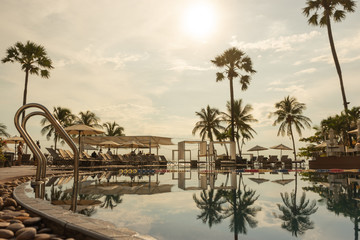 Swimming pool. Luxury hotel in Pattaya, Thailand. Summer beach vacation.