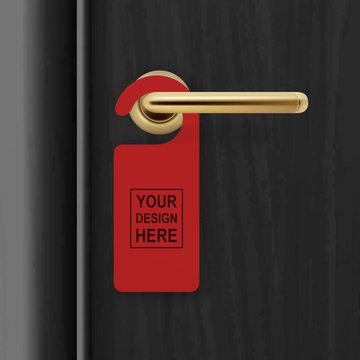 Vector realistic paper red door hanger on black realistic wooden door with metal gold handle background. Door hanger mockup. Design template for graphics. Full length door is in a clipping mask