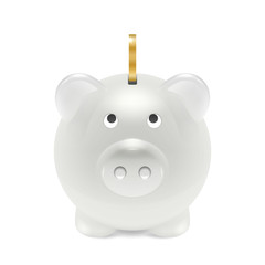 Vector Realistic 3d White Retro Piggy Bank Closeup Isolated on White Background. Design Template of Money Pig for Graphics, Banners. Money, Financial, Savings, New Year 2019 Concept. Front View