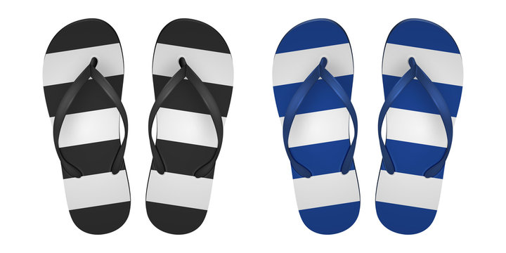 Vector Realistic 3d striped Flip Flop Set Closeup Isolated on White Background. Design Template of Summer Beach Holiday Flip Flops Pair For Advertise, Logo Print, Mockup. Front View