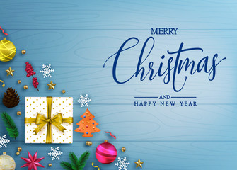 Decorative Merry Christmas and Happy New Year Typography Message with Realistic Christmas Elements Like Gift, Pine Cone, Balls and Stars in Blue Color Wooden Background. Vector Illustration