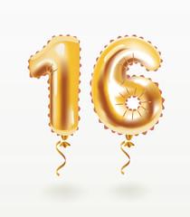 16 happy Birthday celebration with gold balloons.