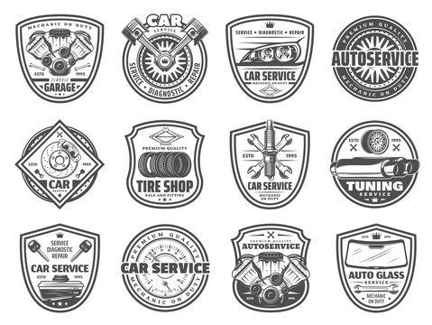 Spare parts, car service and garage station icons