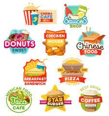 Fast food, sweets and drinks vector icons