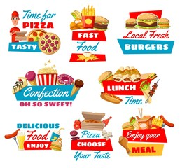 Fast food icons with street meals, vector
