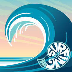 Surfing logo, wave, sky