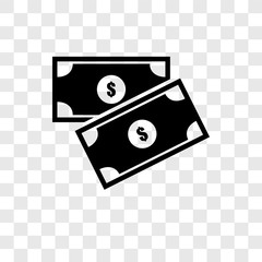 Money vector icon isolated on transparent background, Money transparency logo design