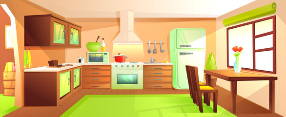 Modern kitchen interior with furniture. Design room with hood and stove and microwave and sink and refrigerator