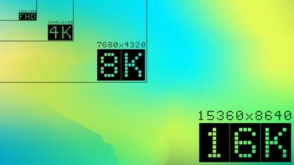 Ultra high hd resolution 16k comparison mock up