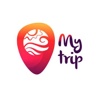 Template logo for travel agency. Text my trip.  Concept near me. Geolocation pin with badge inside. Point map check location in navigation. Vector illustration