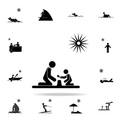 play with a child on the beach icon. Beach holidays icons universal set for web and mobile