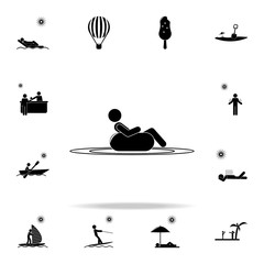lie on the inflatable circle icon. Beach holidays icons universal set for web and mobile