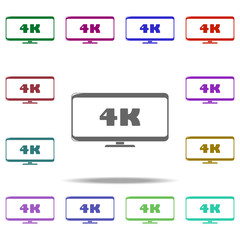 4k sign in monitor icon. Elements of Cinema and Teatr in multi color style icons. Simple icon for websites, web design, mobile app, info graphics