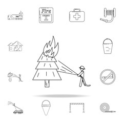 fireman extinguishes a burning tree icon. Fireman icons universal set for web and mobile