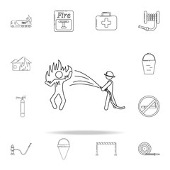 fireman extinguishes a burning person icon. Fireman icons universal set for web and mobile