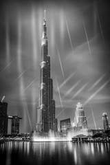 burj khalifa with fountain show, Dubai, UAE