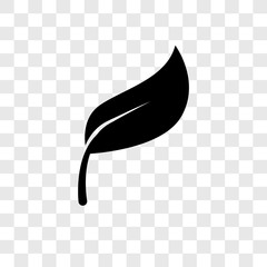 Leaf vector icon isolated on transparent background, Leaf transparency logo design