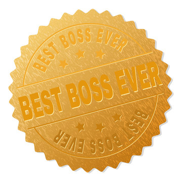 BEST BOSS EVER gold stamp award. Vector gold award with BEST BOSS EVER tag. Text labels are placed between parallel lines and on circle. Golden surface has metallic structure.