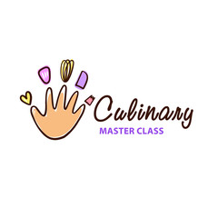 Culinary cooking master class logo. Freehand drawn badge design.