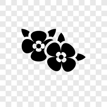 Two Flowers vector icon isolated on transparent background, Two Flowers transparency logo design