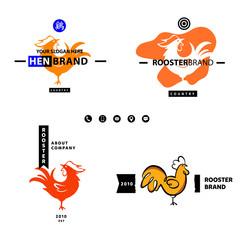 English translate hieroglyph Rooster. Business Logotype Set Temp