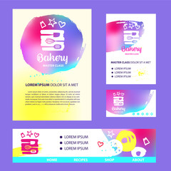 Silhouette stylized kitchenware. Concept template logo, banner, poster for confectionery, bakery, candy, cake, pie shop.