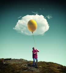 Fried egg made by balloon and a cloud