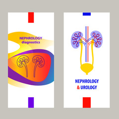 Template simple style logo, banner, poster, flyer for medical clinic, cabinet. Concept diagnosis and treatment nephrology, urology, urogenital system, kidney, ureter and bladder. Vector illustration