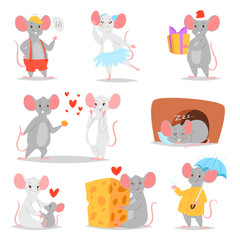 Cartoon mouse vector mousy animal character rodent and funny rat with cheese illustration mousey set of little mice in love and mouselook couple illustration set isolated on white background