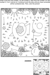 Year 2019 themed connect the dots picture puzzle and coloring page. Answer included.