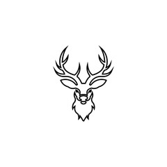 silhouette deer with great antler/animal/ vector illustration logo inspiration